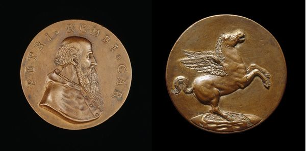 Attributed to Benvenuto Cellini<br /><i>Pietro Bembo, (1470–1547), Cardinal (1538), Venetian Philologist, Poet and Belletrist</i> [obverse]; <i>Pegasus on the Fountain Hippocrene</i>[reverse], 1537/1547<br />Bronze, diameter 5.5 cm (2 3/16 in.)<br />National Gallery of Art, Washington, DC, Samuel H. Kress Collection<br />Image courtesy of the Board of Trustees, National Gallery of Art</i>