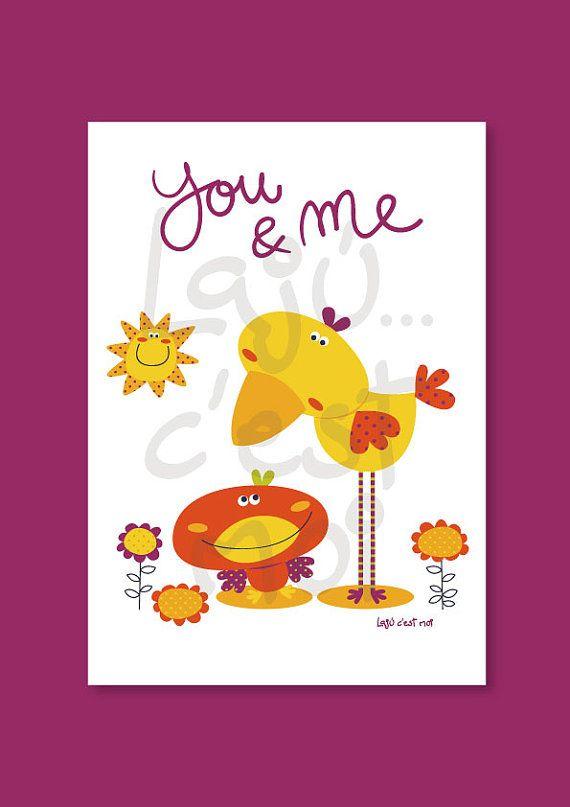 Pollito rojo y pollito amarillo cuadro por Lajucestmoi en Etsy