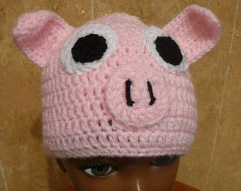 Crocheted Pig Hat Any Size Made to Order