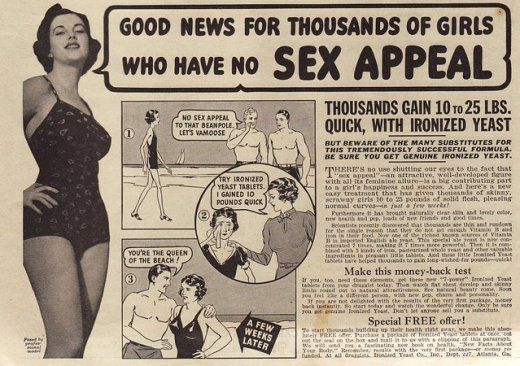 Sex AppealGain Weights, Weightgain, True Romance, Vintage Wardrobe, Weights Gain, Sex Appeal, Vintage Beautiful, Weight Gain, Vintage Ads