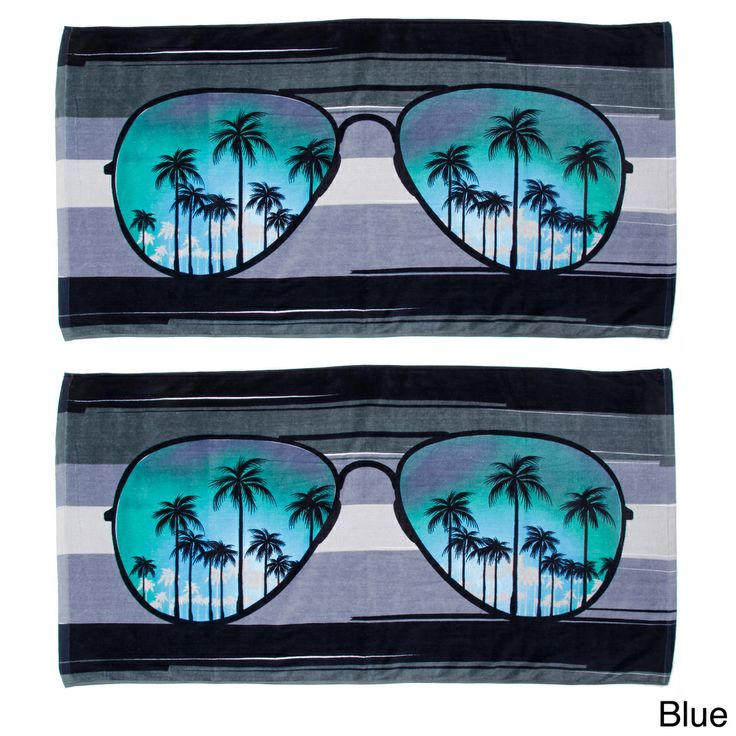 Sunglasses Design Beach Towels (Set of 2) | Overstock.com Shopping - The Best Prices on Beach Towels