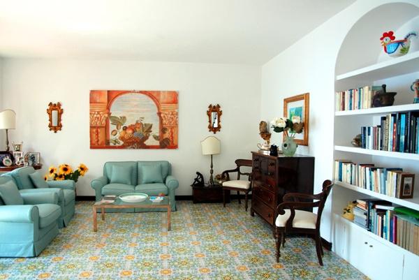painted ceramic tile flooring - amalfi coast tradition
