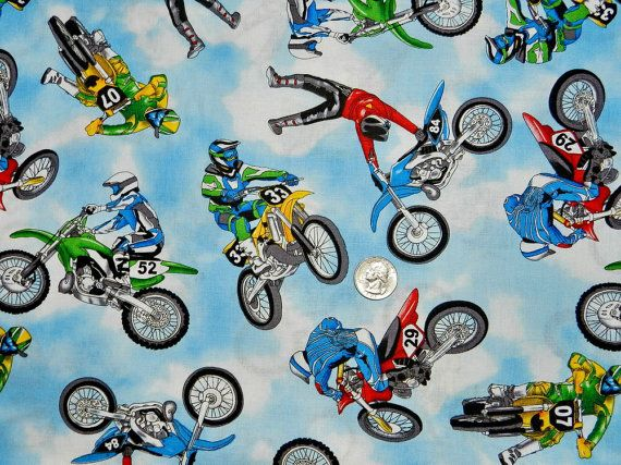 Motorcycle Dirt Bike Fabric By The Yard 8 95 Via Etsy