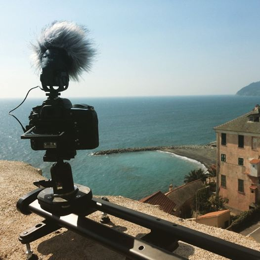 A typical Italian snapshot: beautiful sea, blue sky and... SmartSLIDER Reflex S. This slider, the only one provided with patend pending fluid drag system and proudly made in Italy, is the best choice for middle weight and lite cameras and DSLRs.  #smartsystem #smartslider #slider #video #dslr #fluid #drag #reflex