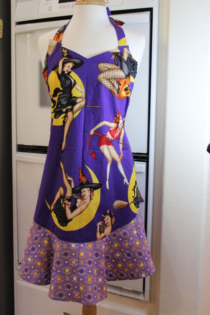 Cute Halloween Pin-up Girl Retro Glam Apron / Are you a good witch or a naughty witch, which? by MySeamingBrain on Etsy