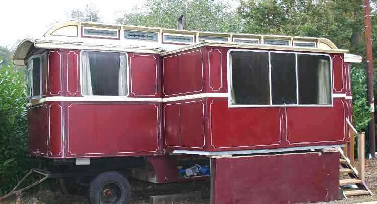 """Gypsy trailer with a """"slide-out""""!--- not sure if this is a camper? Gypsy trailer tricked out or a caboose- so will pin on all three boards--- HUM?  ms"""