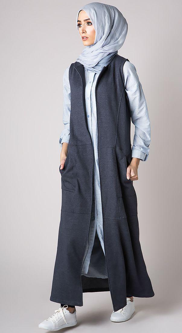 Gilet bleu gris long chemise longue bleu ciel sportwear