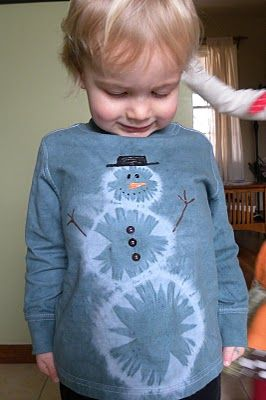 tie-dyed snowman shirt - could probably do this with the sharpie marker method too!