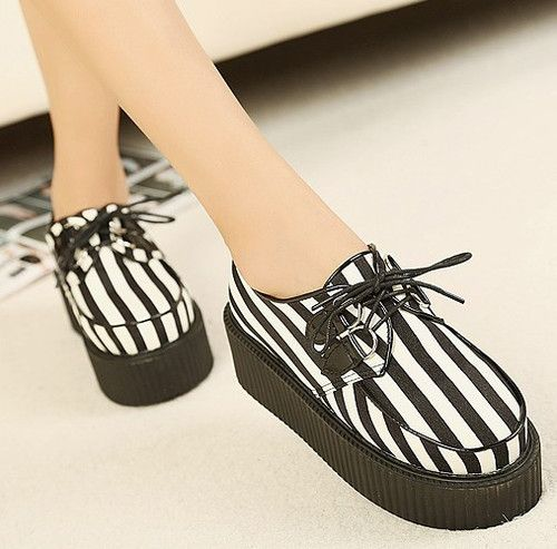 Fashion Women's Faux Suede Lace Up Punk High #Platform Flat #Creeper #Shoes from…