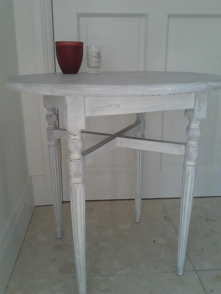 Lamp Table Painted in Paris grey and rubbed in Linen white, lighly distressed and sealed in wax.