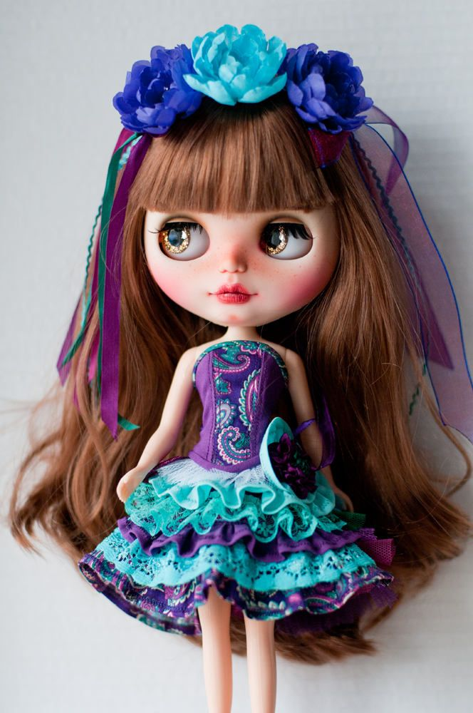 Purple/blue corset set for Blythe. by LenivkaShop on Etsy