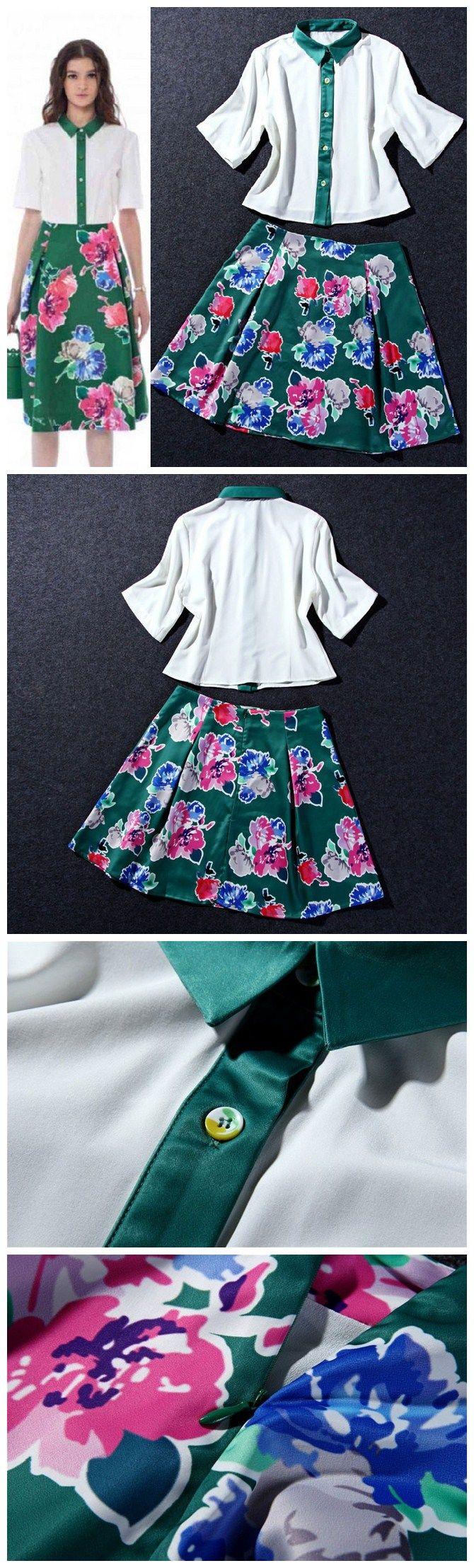 Euro Style Lapel Half Sleeve Single-breasted Top Flower Print Back Zip Midi Skirt Woman Suits