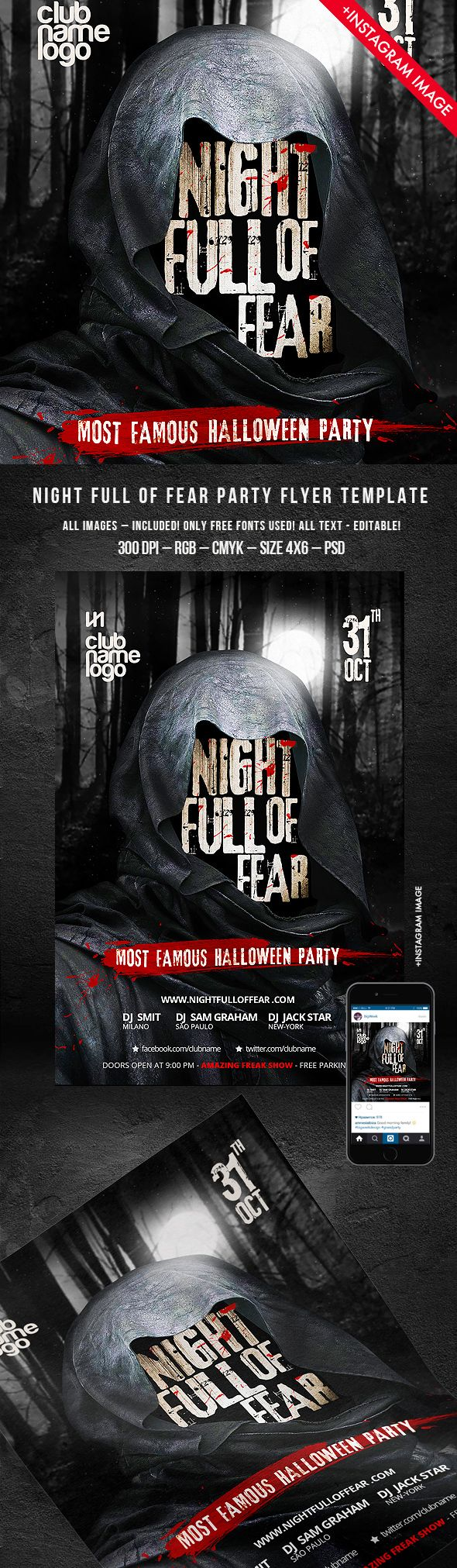 Night full of fear is coming! And your best #halloween2015 party too! ) Take my new flyer: http://graphicriver.net/item/halloween-flyer-night-full-of-fear/13078348?ref=bigweek  #halloween #halloween2015 #zombie #scary #scream #fear #night #nightclub #party #dark #black #template #cool #creative #professional #poster #print #design #pumpkin