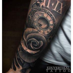 Amazing artist Edutattoo @eduvertikal from Spain awesome Pocket watch rose tattoo! @art_spotlight ...