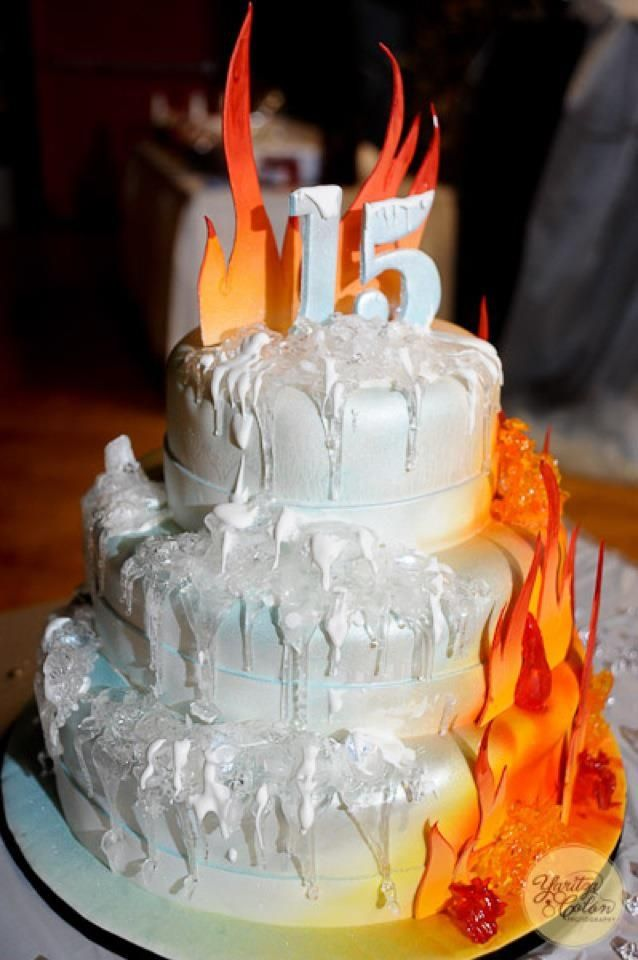 Fire and Ice Cake - Ice made of Iso malt, fire made of gumpaste