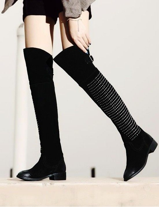 Chic Black Studded Riding Boots, 2013 Thigh High Riding Boots, Over The Knee Boots With Rivets