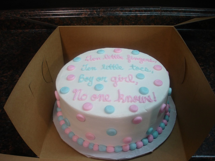 gender revealing party cake - I don't like the saying but the cake is really cute