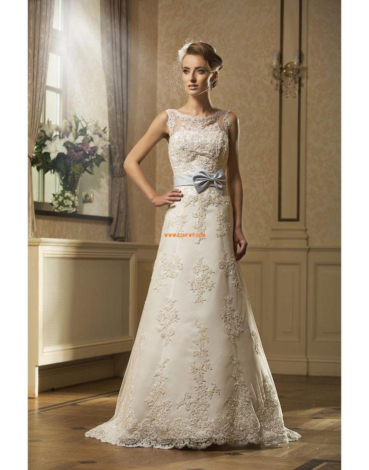 Lodičkový výstřih Šerpy / Stuhy Přírodní Svatební šaty 2014