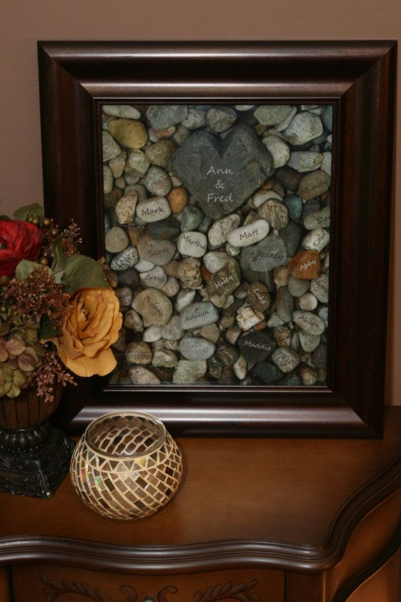Custom Family Tree Personalized Heart Rock Garden by holdmyhands, $33.00... But I think I could make my own with a shadow box and if I paint our names on the rocks or use sharpie :)