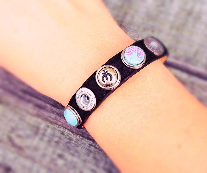 Noosa Petite enkele armband (zwart) voor 5 petite chunks
