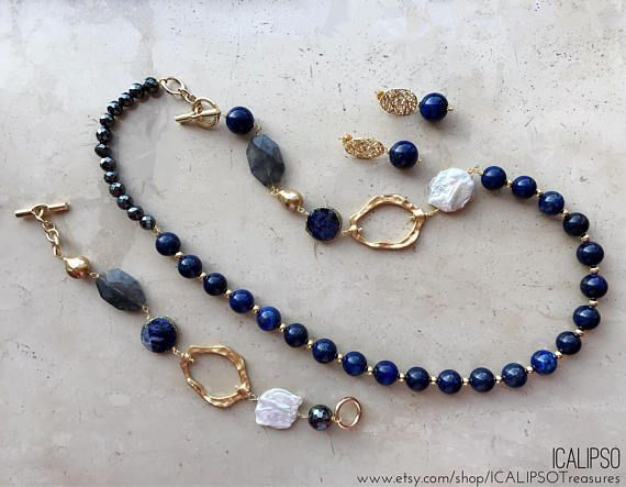 Blue gemstone necklace for women, perfect Valentines day gift for wife or birthday gift for mom. ❤ CREATED BY HAND Every ICALIPSOTreasures jewel is created by hand. I always look for unique components and durable materials to make jewels that can last over time. Every jewel is the