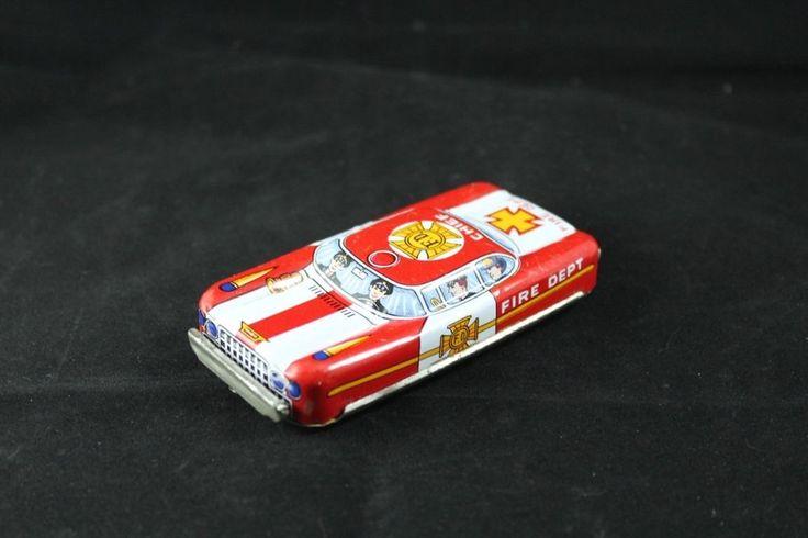 Vintage Japanese Fire Department Tin Toy Car - TN Nomura | eBay