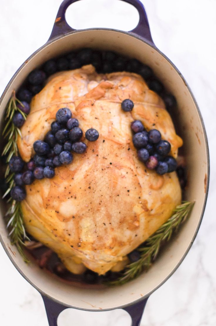 This melt in your mouth Blueberry & Pinot Noir Roasted Chicken is so flavorful and easy to make. It has a subtly sweet undertone that taste like summer.