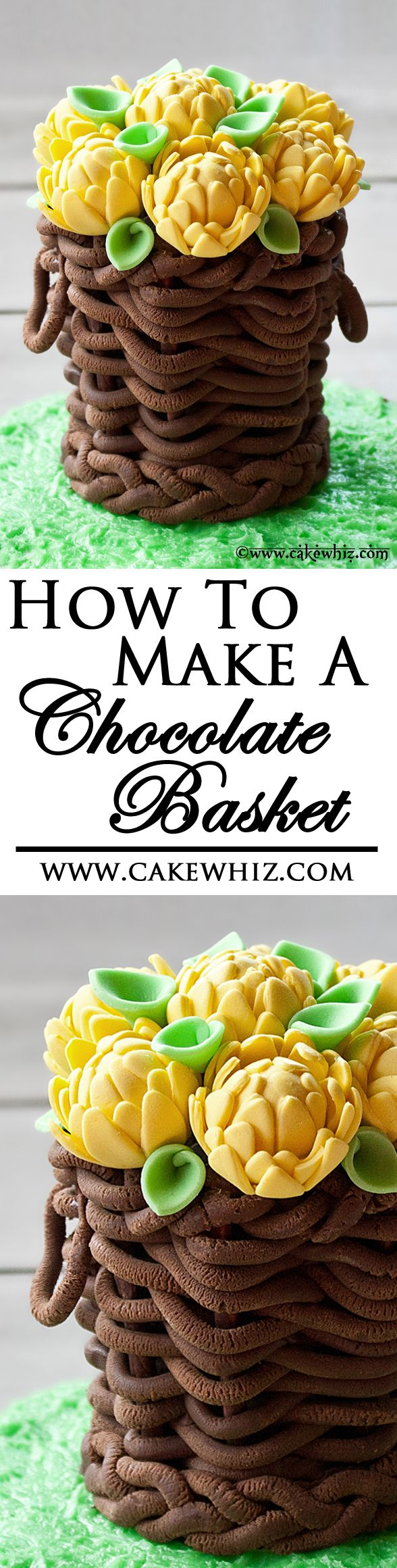 Use my step-by-step tutorial to make this beautiful EDIBLE BASKET and fill it with whatever you like! Works great as a cake topper. From cakewhiz.com