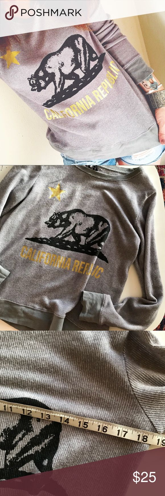 super soft California republic sweatshirt Such a comfortable sweatshirt! great condition! California logo graphic on front. Grey in color. Recycled Karma Tops Sweatshirts & Hoodies