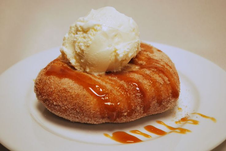 ELEPHANT EAR  Hand stretched crispy fried dough tossed in cinnamon sugar, topped with sweet caramel and a scoop of vanilla ice cream…7 #Dessert #ElephantEar