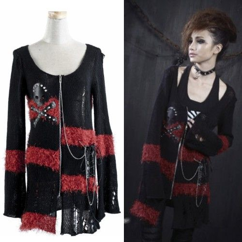 Black and Red Skull Emo Punk Rave Steampunk Long Sweater Jackets SKU-11411020