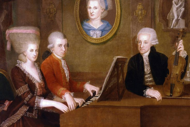 Wolfgang Amadeus Mozart with his sister Maria Anna and father Leopold, on the wall a portrait of his dead mother Anna Maria, by Johann Nepomuk della Croce. c. 1780 | by Royal Opera House Covent Garden