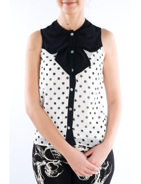 Bluza cu buline si funda neagra Alb #tinar
