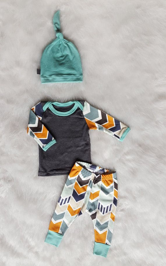 Baby Boy Coming Home Outfit Mod Chevron Shirt by brambleandbough