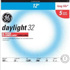 GE Lighting 11039 32-Watt DayLight Circline T9 Light Bulb, 1-Pack by GE Lighting. Save 40 Off!. $16.74. From the Manufacturer                GE 11039 32-Watt Daylight Circline T9. Bulb Diameter (DIA) [Nom]: 1.125 in, Bulb Diameter (DIA) [Min]: 1.030 in, Bulb Diameter (DIA) [Max]: 1.220 in, Bulb Material: Lead glass, Cathode Resistance Ratio - Rh/Rc [Min]: 4.25, Cathode Resistance Ratio - Rh/Rc [Max]: 6.5, Color Rendering Index (CRI): 75, Color Temperature: 6,500 K, Current Crest Factor ...