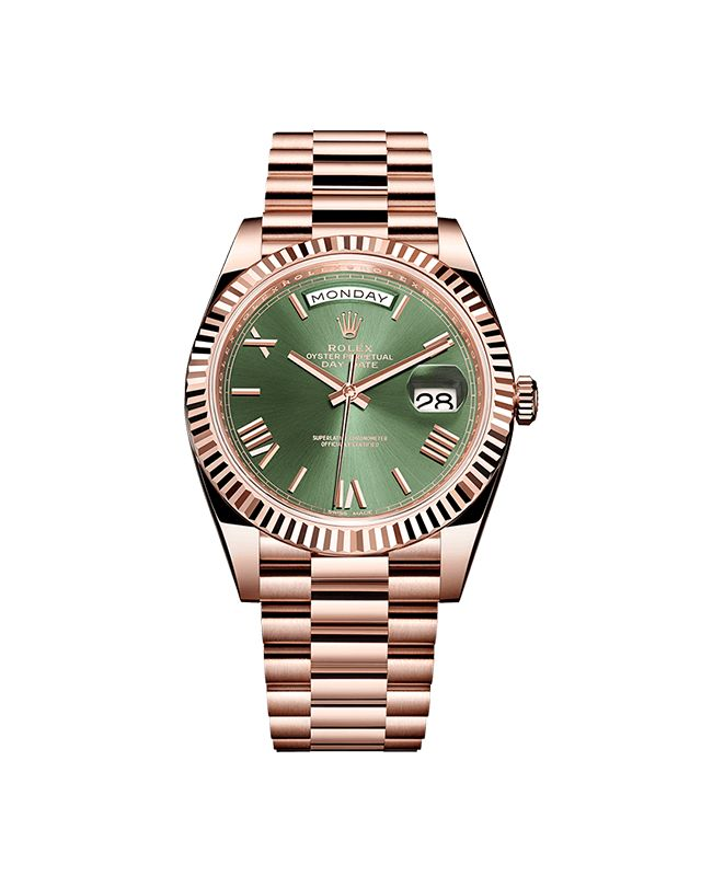"""Rolex Oyster Perpetual Day-Date. Known as the """"presidents' watch"""", the new Rolex Day-Date 40 is celebrating its 60th anniversary in 2016. To mark this special occasion, it has been given a bright new dial in green, Rolex's hallmark colour."""