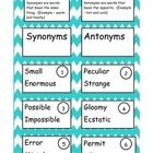 This game has definition and label cards for both synonym and antonym. The students can read the set of words on each card then place the card unde...