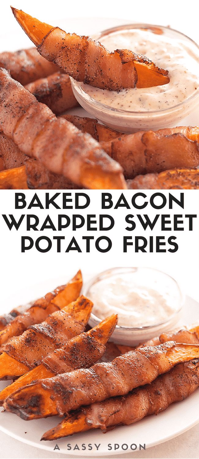 Sweet potatoes cut into fries, seasoned with salt, pepper, and smoked paprika, then wrapped in uncured applewood smoked bacon and baked to perfection! via @asassyspoon