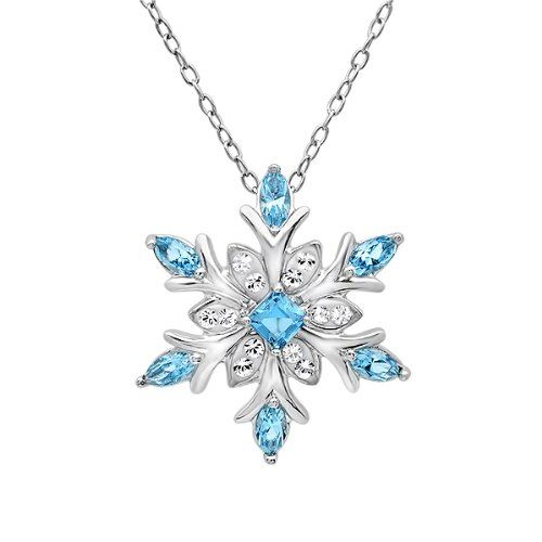 #saucy Sterling Silver Snowflake Pendant – Necklace with Blue and White Swarovski Crystals