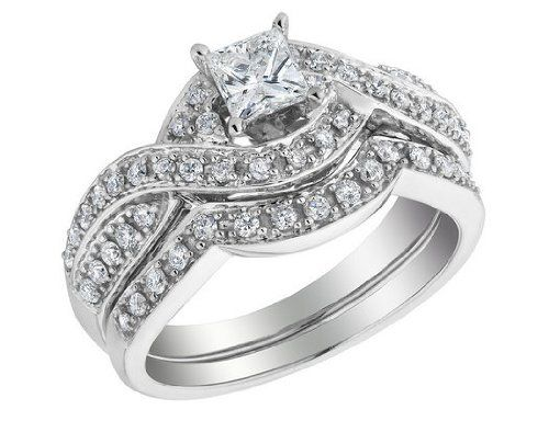 engagement ring wedding band set princess cut engagement ring and wedding band set 3910