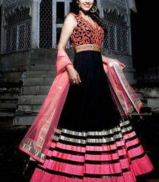 Buy Black embroidered net semi stitched salwar with dupatta anarkali-salwar-kameez online