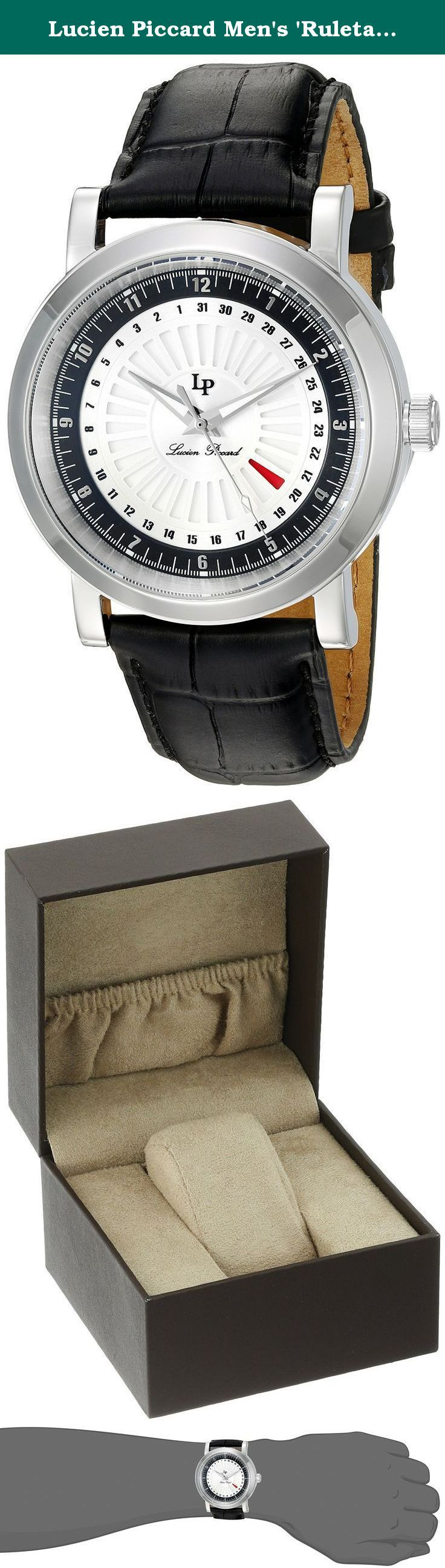 Lucien Piccard Men's 'Ruleta' Quartz Stainless Steel and Leather Casual Watch, Color:Black (Model: LP-40014-02S-BC). All the right moves for today's man from new Lucien Piccard Ruleta collection. Classic contemporary men's watch offers masculine, debonair lines with a perfectly round polished steel case, contoured extended lugs and a handsome alligator-textured leather strap. The highly intricate dial inspired by roulette wheels from a Monte Carlo casino features sword hands, Arabic…