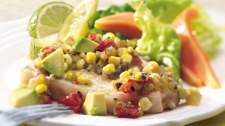 Delicate halibut steaks with sweet and spicy corn salsa for a dinner in the …   – Foil Pack Meals