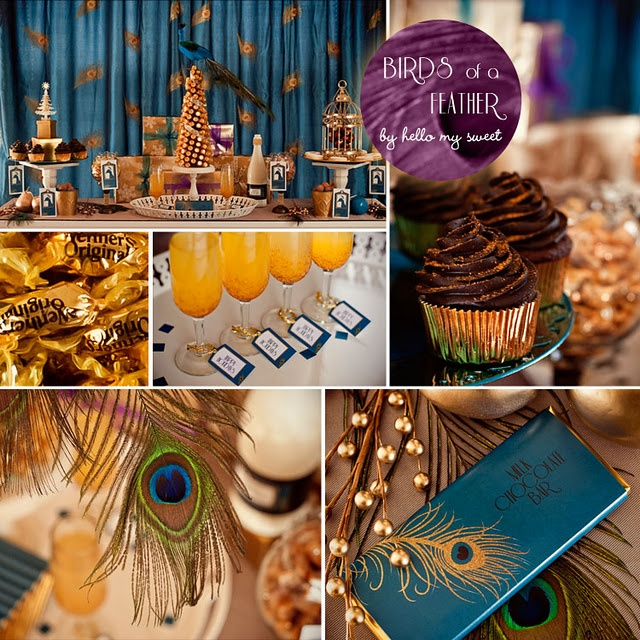 Beautiful Vintage 20's Peacock Christmas Party via www.karaspartyideas.com