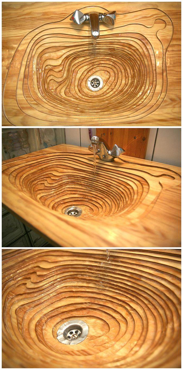 Design madeira banho banheiro pia diferente original topografia corte bancada luxo
