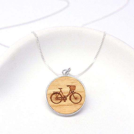 Wooden Bicycle Disc Necklace, Bike Necklace, Cycling gift, Dutch Bicycle pendant, Hand made Laser Cut Sterling Silver Bike Disc Necklace