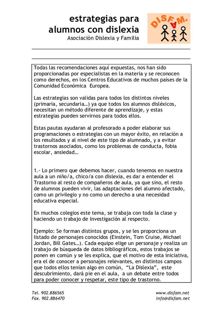 Estrategias para alumnos con dislexia - DISFAM. Em: http://es.slideshare.net/soniambr75/estrategias-para-alumnos-con-dislexia-disfam