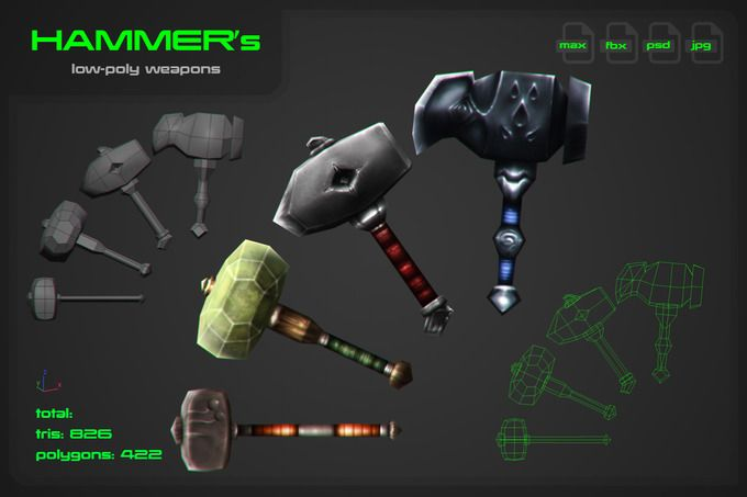 Hammers [weapons] by stallfish's art store on @creativemarket