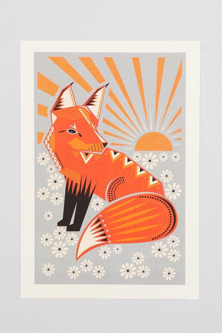 {Hillary Bird Twilight Fox Art Print} Love this fun print.