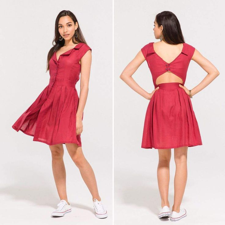Tailor Made Shirt Dress with Lovely Flare and Attractive Cut Back